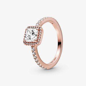 Pandora Square Sparkle Halo Ring